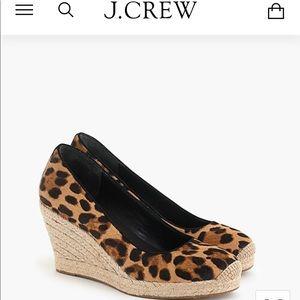 NEW! J. Crew Seville leopard calf hair wedges
